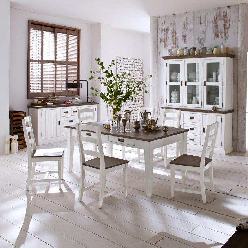 Landhaus esszimmer stuhl set akazie massiv wei braun for Lehnstuhl esszimmer