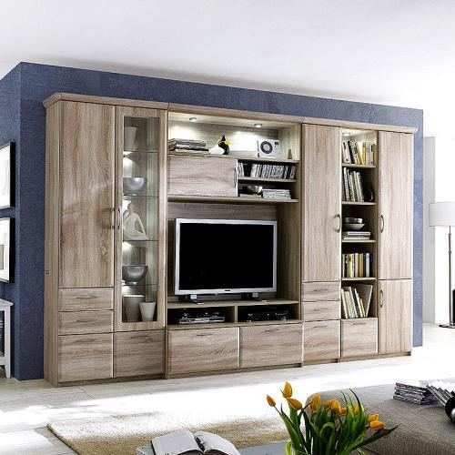 neu wohnwand in sonoma eiche anbauwand tv wohnzimmerschrank vitrine schrankwand ebay. Black Bedroom Furniture Sets. Home Design Ideas