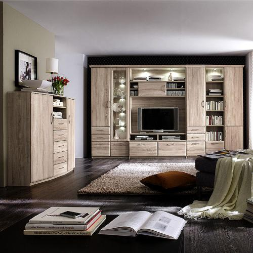 wow wohnwand highboard sonoma eiche anbauwand wohnzimmer vitrine schrankwand ebay. Black Bedroom Furniture Sets. Home Design Ideas