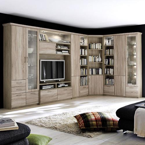 neu eck wohnwand sonoma eiche anbauwand wohnzimmer barschrank tv schrankwand ebay. Black Bedroom Furniture Sets. Home Design Ideas