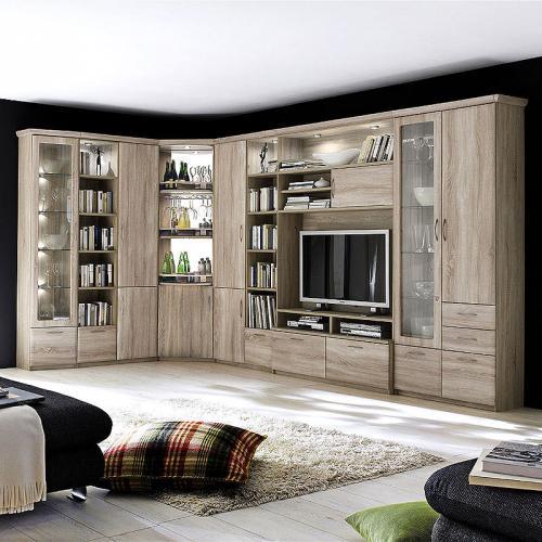 eck wohnwand sonoma eiche nachbildung wohnzimmer highboard schrank vitrine ebay. Black Bedroom Furniture Sets. Home Design Ideas