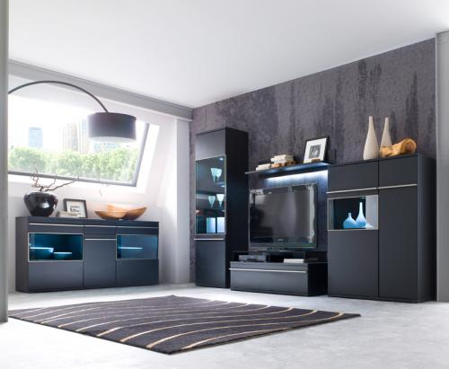 wow wohnwand sideboard matt schwarz edelstahl anbauwand wohnzimmer schrankwand ebay. Black Bedroom Furniture Sets. Home Design Ideas