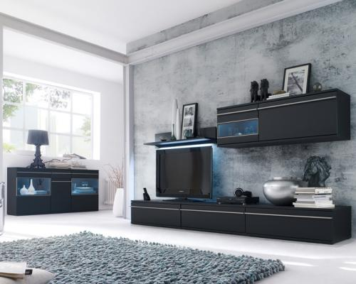 wohnwand sideboard 6 tlg matt schwarz lackiert wohnzimmer schrankwand ebay. Black Bedroom Furniture Sets. Home Design Ideas