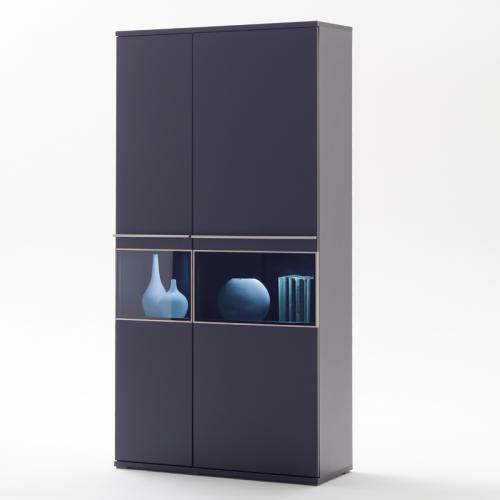 wow moderner vitrinenschrank lack matt schwarz edelstahl. Black Bedroom Furniture Sets. Home Design Ideas