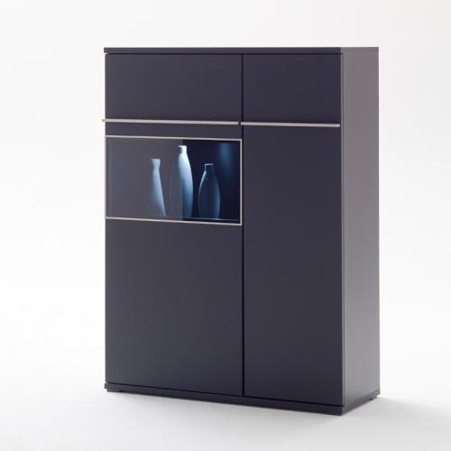 wow highboard lack matt schwarz edelstahl led. Black Bedroom Furniture Sets. Home Design Ideas