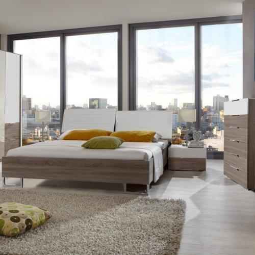 neu 4 tlg schlafzimmer montana eiche wei 180cm futonbett kommode 2 nachtische ebay. Black Bedroom Furniture Sets. Home Design Ideas