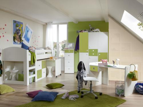 Wow komplett jugendzimmer wei gr n hochbett for Jugendzimmer hochbett komplett