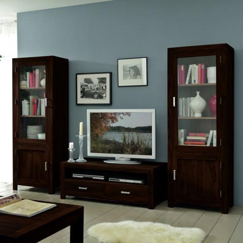 klassische wohnwand 3 tlg massiv gewachst dunkel stone vitrine lowboard tv tisch ebay. Black Bedroom Furniture Sets. Home Design Ideas