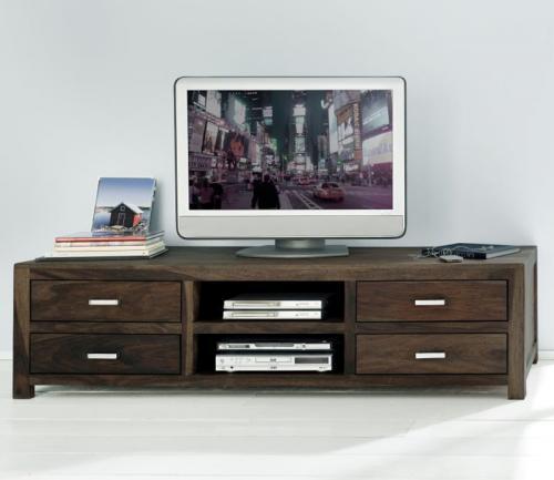 Lowboard massiv stone dunkel gewachst tv rack sideboard tv for Tisch dunkel
