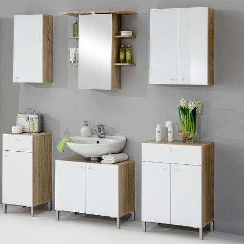 Badezimmermöbel weiß eiche  6tlg Badmöbel Eiche - weiß Badezimmermöbel Badezimmer Spiegelschrank ...