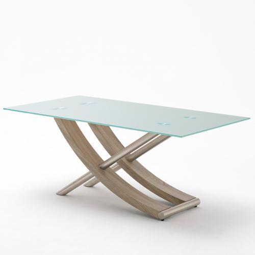 neu 180cm design esszimmertisch eiche tr ffel edelstahl esstisch glastisch tisch ebay. Black Bedroom Furniture Sets. Home Design Ideas