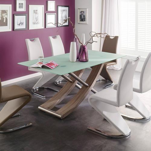 Neu 180cm design esszimmertisch eiche edelstahl creme for Design tisch edelstahl