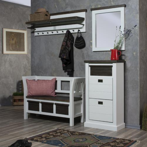 landhaus garderobenset massiv wei braun garderobe bank flurm bel schuhschrank ebay. Black Bedroom Furniture Sets. Home Design Ideas