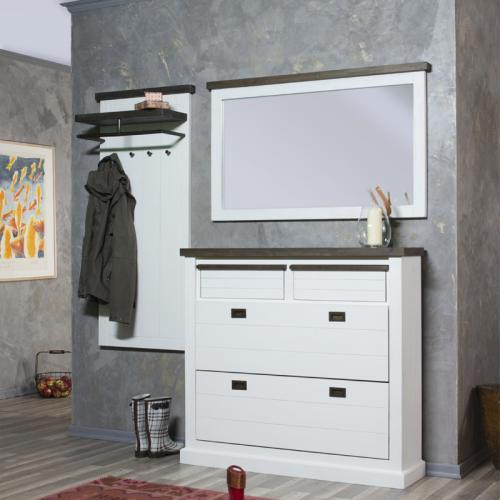 neu landhaus garderobenset massiv wei braun garderobe flurm bel schuhschrank ebay. Black Bedroom Furniture Sets. Home Design Ideas