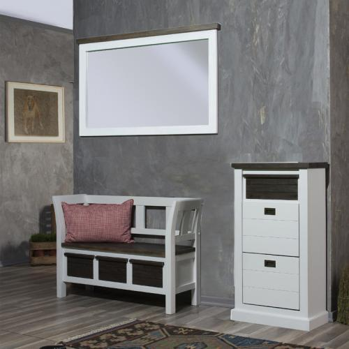 landhaus garderobenset massiv wei braun garderobe. Black Bedroom Furniture Sets. Home Design Ideas