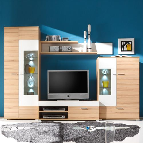 neu 4 tlg wohnwand in kernbuche wei vitrine lowboard anbauwand schrankwand ebay. Black Bedroom Furniture Sets. Home Design Ideas