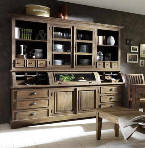 neu landhaus buffet echt teak massiv highboard buffetschrank vitrinenschrank ebay. Black Bedroom Furniture Sets. Home Design Ideas