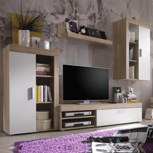 Wohnwand Eiche Sonoma Nachbildung - weiß Wohnzimmer Hängeschrank ...