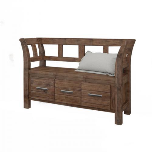 neu garderobenbank sitzbank cognac massiv geb rstet. Black Bedroom Furniture Sets. Home Design Ideas