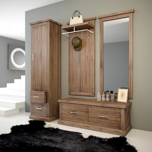 wow 4 tlg landhaus garderobenset massiv cognac garderobe sitzbank kleiderschrank ebay. Black Bedroom Furniture Sets. Home Design Ideas
