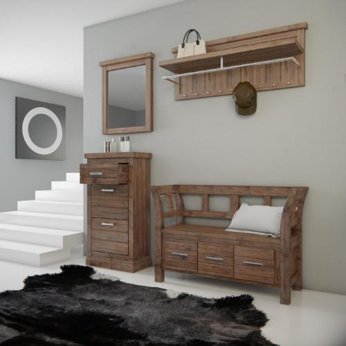 landhaus garderobenset massiv in cocgnac garderobe sitzbank schuhschrank spiegel ebay. Black Bedroom Furniture Sets. Home Design Ideas