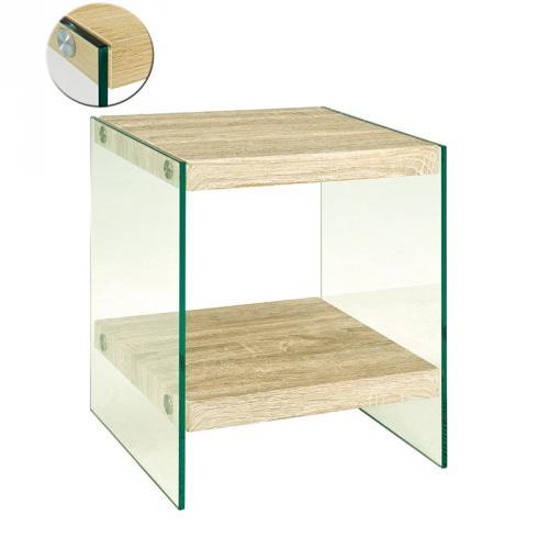 beistelltisch eiche hell klarglas blumentisch glastisch telefontisch nachttisch ebay. Black Bedroom Furniture Sets. Home Design Ideas