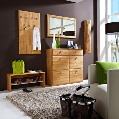 neu 5tlg garderobenset erle massiv flurm bel garderobe bank spiegel schuhschrank ebay. Black Bedroom Furniture Sets. Home Design Ideas