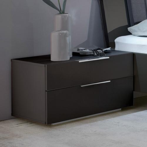 2er nachtschrank set anthrazit nachttisch nachtkommode schlafzimmer kommoden. Black Bedroom Furniture Sets. Home Design Ideas