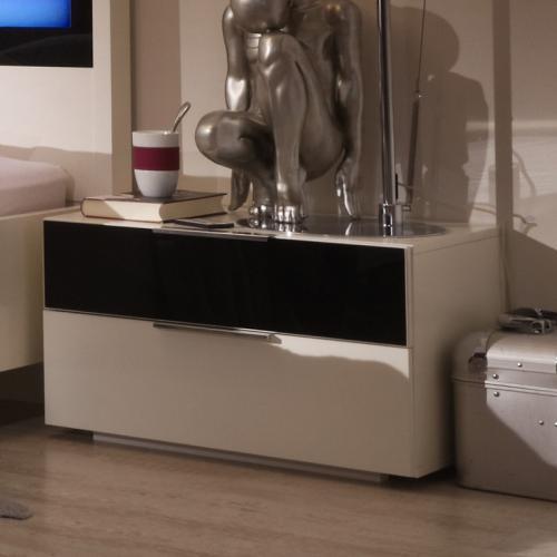 nachtschrank 2er set alpinwei glas schwarz nachttisch nachtkommode schlafzimmer ebay. Black Bedroom Furniture Sets. Home Design Ideas