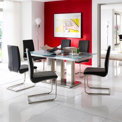 neu 7 tlg esszimmer set edelstahl esstisch glas wei ausziehbar 6x schwingstuhl ebay. Black Bedroom Furniture Sets. Home Design Ideas