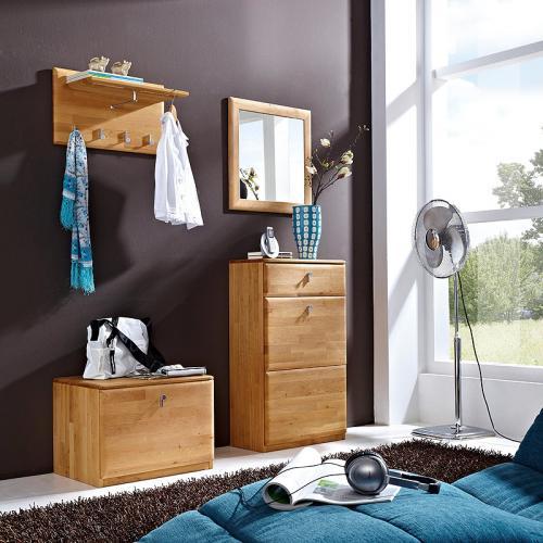 wow garderobenset erle massiv flurgarderobe garderobe truhe spiegel schuhschrank ebay. Black Bedroom Furniture Sets. Home Design Ideas