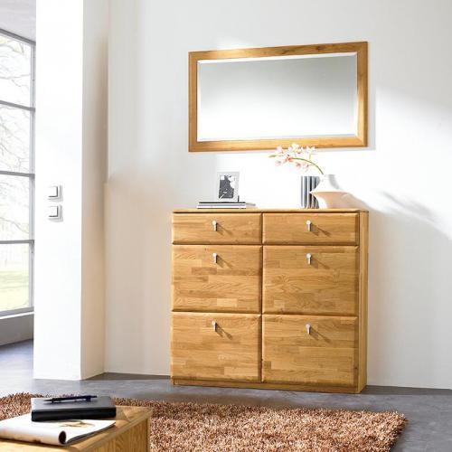 wow garderobe 2tlg schuhschrank spiegel erle massiv garderobenset flurgarderobe ebay. Black Bedroom Furniture Sets. Home Design Ideas