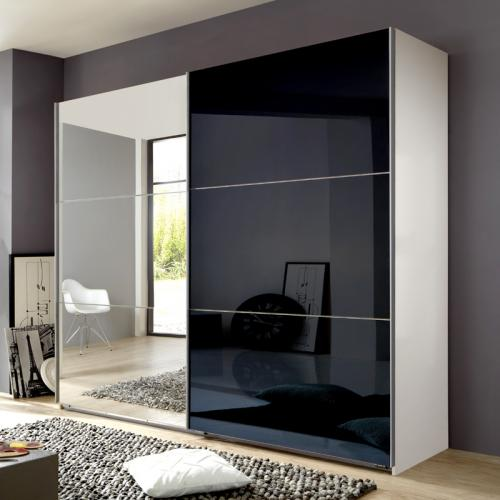 270cm h 236cm schlafzimmerschrank glas schwarz wei kleiderschrank spiegel ebay. Black Bedroom Furniture Sets. Home Design Ideas