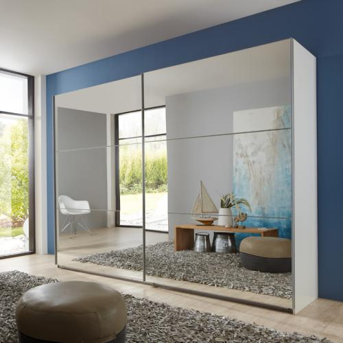 270cm schwebetürenschrank weiß verspiegelt schlafzimmer