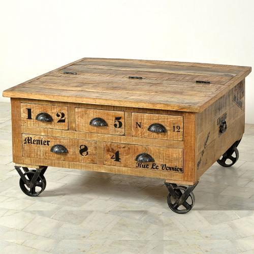 Wow couchtisch truhe rollbar holztruhe wohnzimmer for Couchtisch rollbar