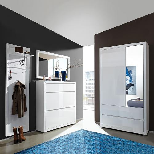 wow garderobe hochglanz wei garderoben m bel set schuhschrank kleiderschrank ebay. Black Bedroom Furniture Sets. Home Design Ideas
