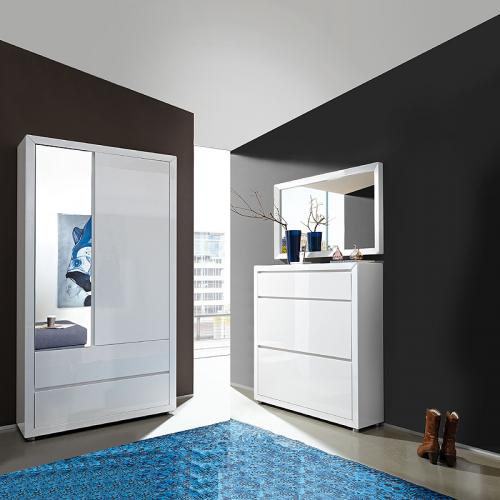 3 tlg garderobe hochglanz wei garderoben m bel set. Black Bedroom Furniture Sets. Home Design Ideas