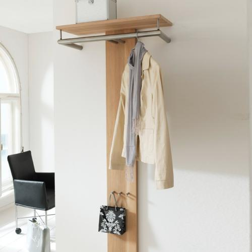 design garderobe flurgarderobe eiche edelstahl wandgarderobe garderobenpaneel ebay. Black Bedroom Furniture Sets. Home Design Ideas