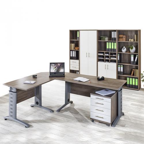 neu komplett b romb bel set tr ffel eiche wei. Black Bedroom Furniture Sets. Home Design Ideas