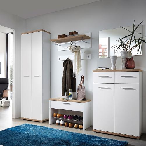 flur garderobe eiche sonoma wei garderoben m bel schuhschrank kleiderschrank ebay. Black Bedroom Furniture Sets. Home Design Ideas