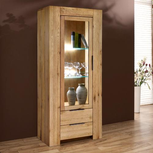 neu vitrine wildeiche massiv ge lt vitrinenschrank. Black Bedroom Furniture Sets. Home Design Ideas
