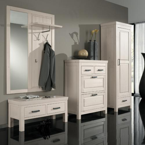 komplett garderoben set massiv wei flur garderobe schuhschrank kleiderschrank ebay. Black Bedroom Furniture Sets. Home Design Ideas