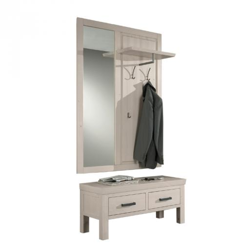 massive landhaus garderobe spiegel kommode garderobenset schuhbank wandgarderobe ebay. Black Bedroom Furniture Sets. Home Design Ideas