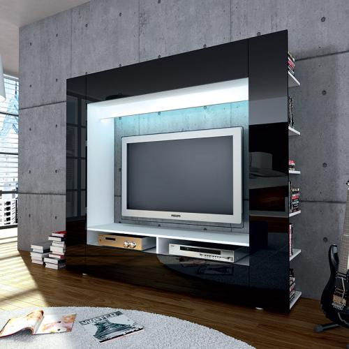 wow wohnzimmer fernsehschrank hochglanz schwarz led tv. Black Bedroom Furniture Sets. Home Design Ideas