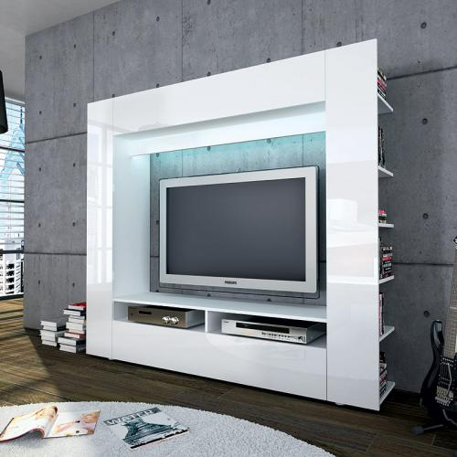 neu mediawand hochglanz wei led tv hifi rack wohnwand anbauwand schrankwand ebay. Black Bedroom Furniture Sets. Home Design Ideas