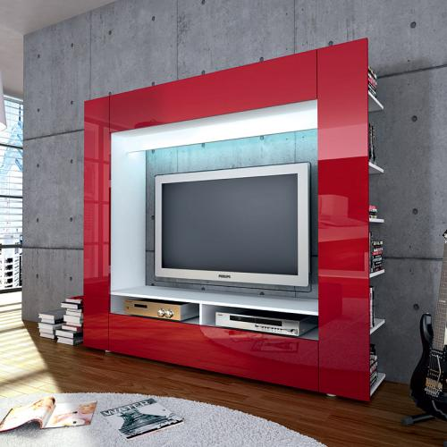 wow wohnzimmer fernsehschrank hochglanz rot led lcd tv. Black Bedroom Furniture Sets. Home Design Ideas