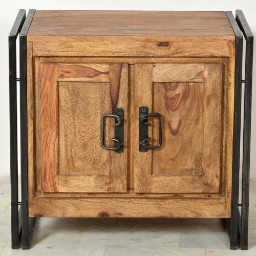 badezimmer waschbeckenschrank shesham holz altmetall schrank badezimmerschrank ebay. Black Bedroom Furniture Sets. Home Design Ideas