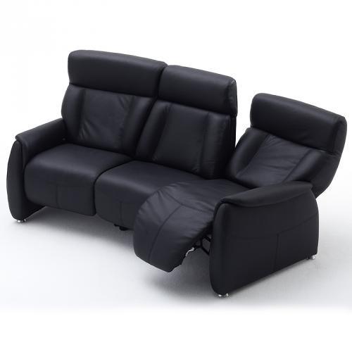 wohnzimmer sofa ebay:Relax-Sofa-Echtleder-schwarz-Ledersofa-Wohnzimmer-Couch-Fernsehsofa