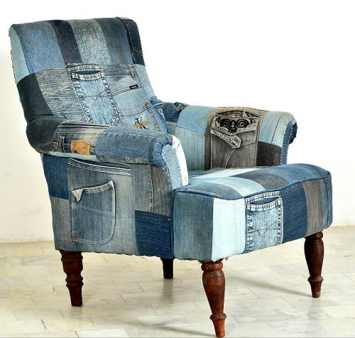 neu design unikat lounge sessel jeans & akazie massiv, Mobel ideea