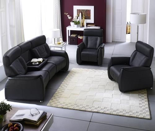 neu exkusive relax garnitur echt leder schwarz fernsehsessel tv 3er sofa couch ebay. Black Bedroom Furniture Sets. Home Design Ideas